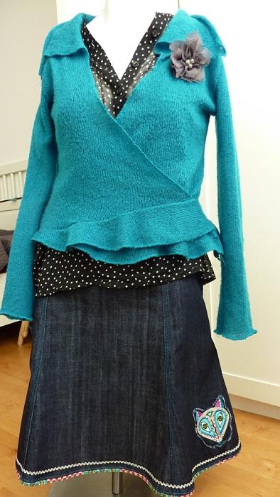 Schnittmuster Samenrock aus Jeans nähen, farbenmix