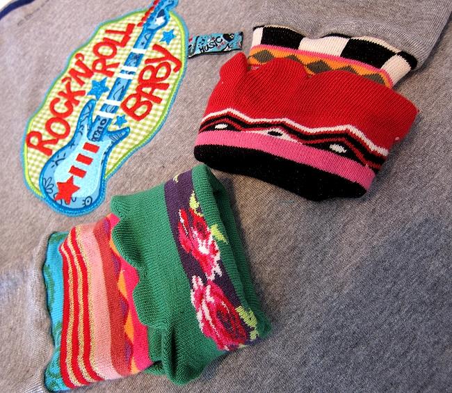 Socken zu Bündchen vernähen, Recycle-Style farbenmix