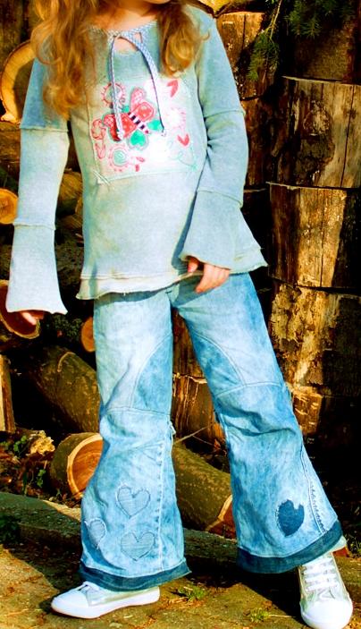 Jeans nähen, Schnittmuster, farbenmix, Lagenlook, Used-Look