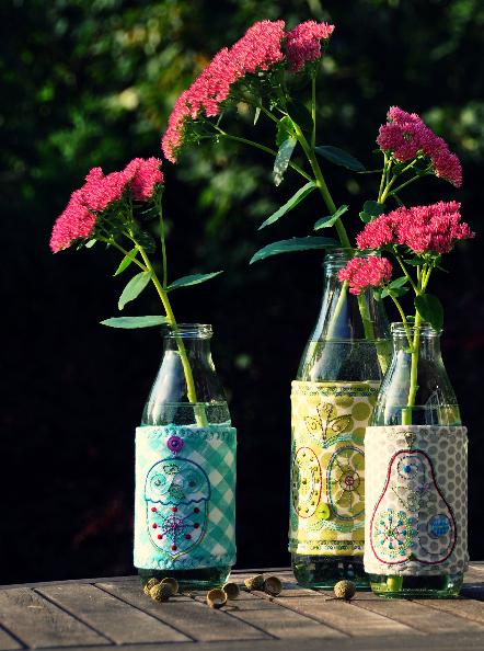 Deko, Vase, Milchflaschen verzieren, nähen, farbenmix, luzia pimpinella