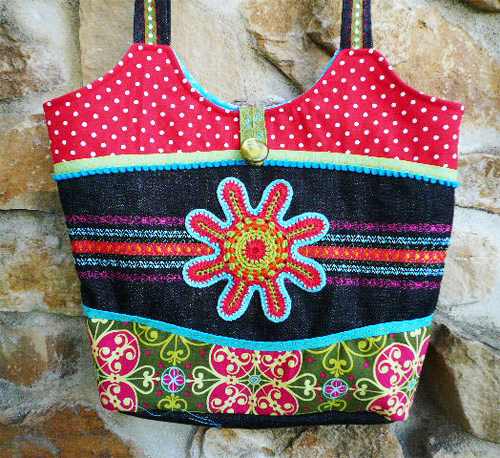 Tasche nähen, Schnittmuster, farbenmix, Häkelblumen, Sommerliebe