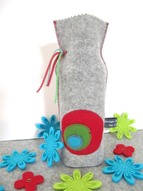 Vase aus Filz und alter Wasserflasche, Tutorial farbenmix