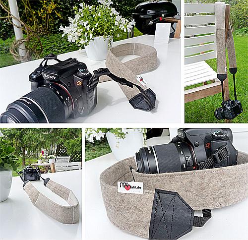Kameraband, Kameragurt aus Filz genäht, mymaki, farbenmix