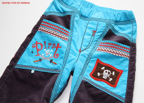 Strickbündchen an den Tascheneingriffen, Schnittmuster farbenmix