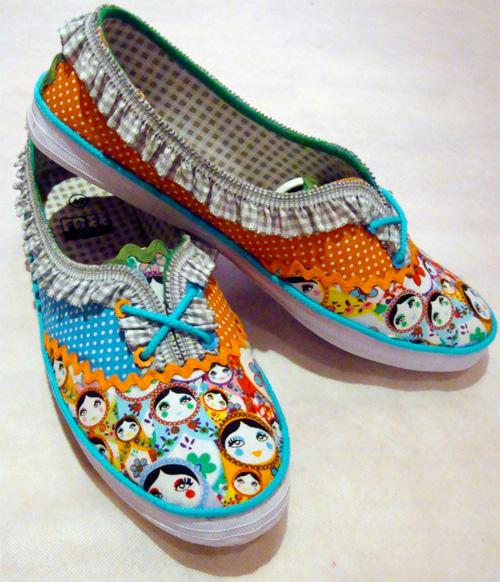 Schuhe verzieren, pimpen mit Stoff, Sneakers, farbenmix