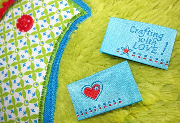 Webetikett, Einnäher, Crafting with love, farbenmix