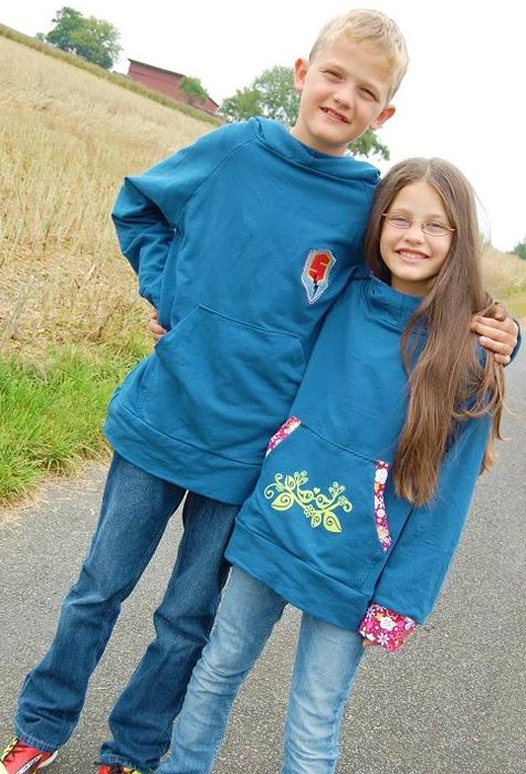 Schnittmuster Kapuzensweater, Geschwister, farbenmix