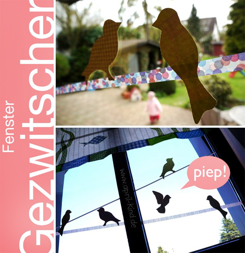 Fensterdeko Frühling Masking-Tabe Vogel Stylefix farbenmix