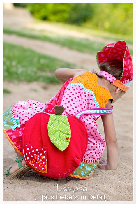 Schnittmuster Apfeltasche, Kleid, Farbenmix-Stoff
