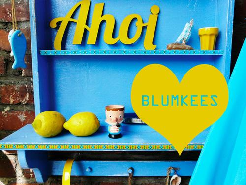 Webband Blumkees gelb hellblau Paulapü farbenmix