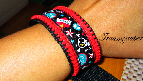 Armband Reißverschluss Webband farbenmix