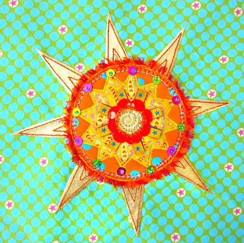 Sonne, sticken, Applikation, nähen, farbenmix.de