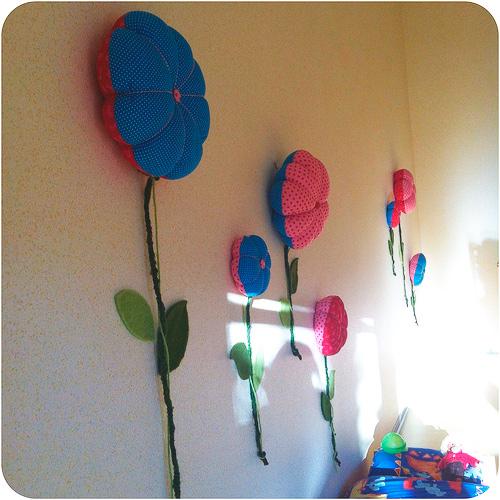 Blumen groß Deko Wanddeko nähen Kinderzimmer Anleitung farbenmix