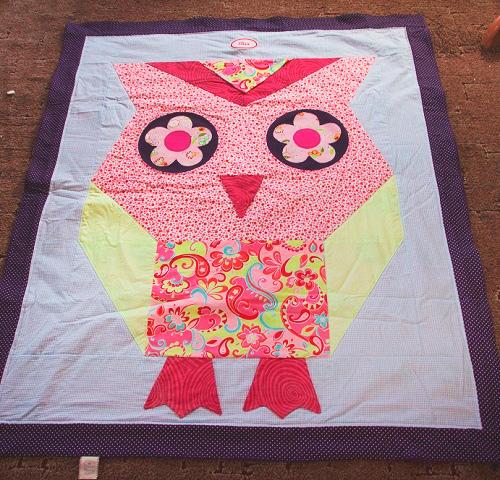 Das große UHUHU Decke Patchwork Eule gratis Anleitung Schnittmuster farbenmi