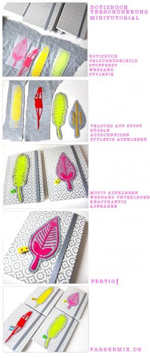 DIY , Tutorial Notizbuch pimpen, farbenmix.de, neon, Velours