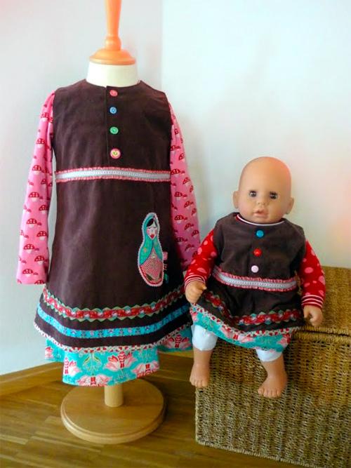 Kleid und Puppenkleid nach dem Schnittmuster ARWEN von farbenmix selber nähen