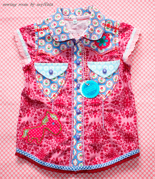 Kurzärmlig Bluse Hemd Schnittmuster farbenmix selber nähen Sommerbluse