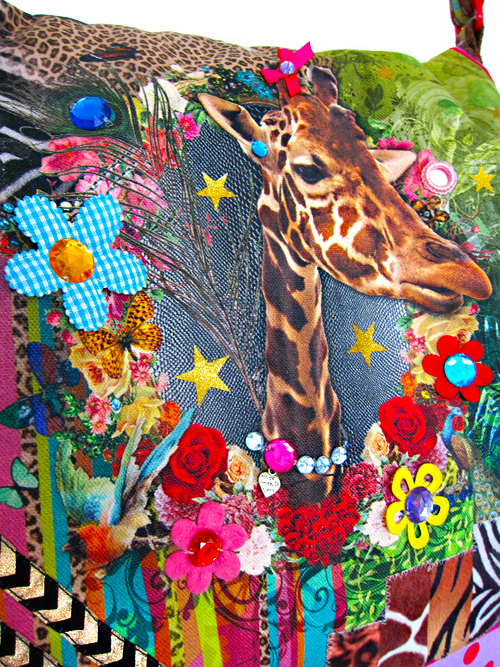 Giraffe, Elefant, Nashorn, Tiger, Stoff von Swafing