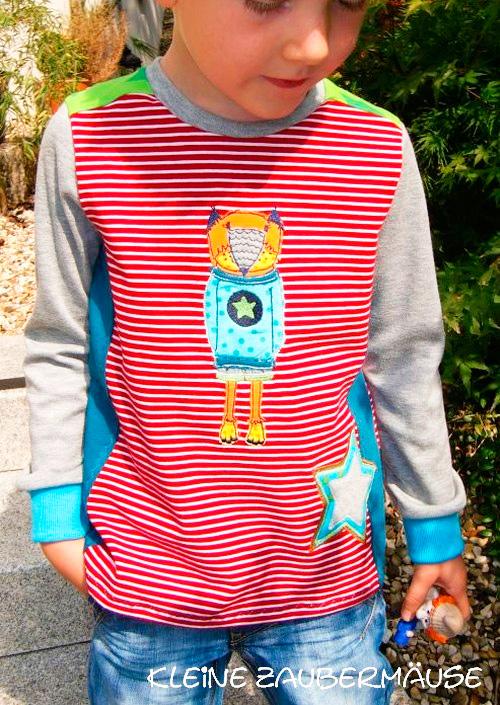 Shirt Langarmshirt Mädchen Jungen selber nähen Schnittmuster Anleitung farbenmix