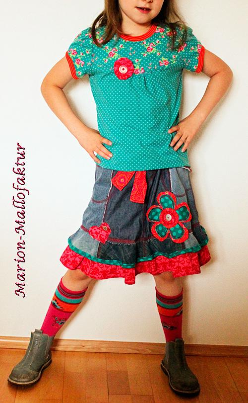 Shirt Mädchen Rock selber nähen Kombi farbenmix Schnittmuster ZUCKA kleinFANÖ