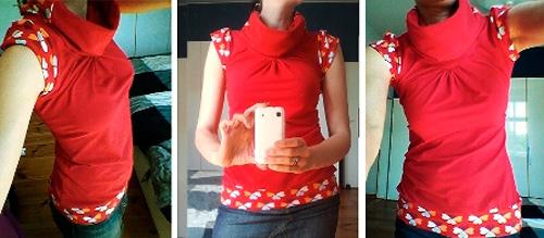T-Shirt Shirt selber nähen Anleitung Schnittmuster Kreativ-Ebook Damen Oberteil großer Kragen farbenmix