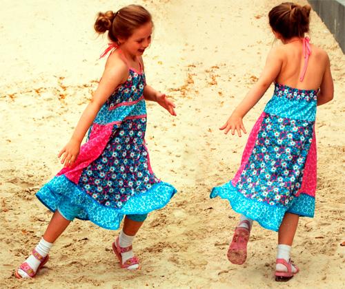 Sommerkleid Neckholder Schnittmuster Anleitung Kleid Strandkleid farbenmix