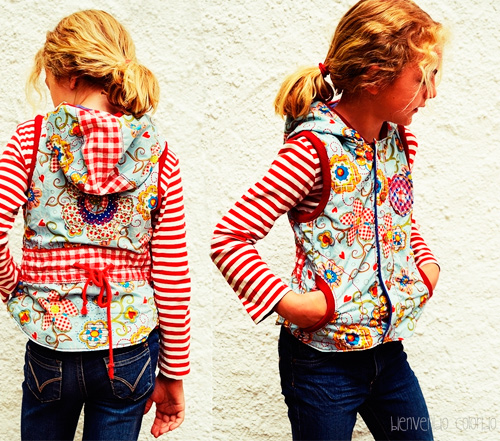Herbstweste Winterweste Weste Mädchen tailliert farbenmix Schnittmuster Anleitung