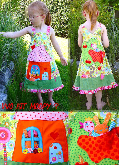 Kinderkleid, Trägerrock selber nähen, Applikationen