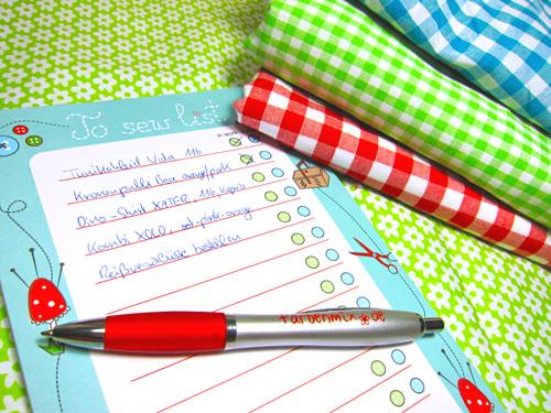 Erfolgreich und strukturiert Nähprojekte planen, Liste zum einfachen Abhaken