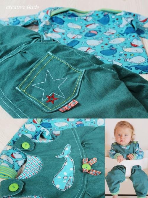 Babysachen nähen Overallhose farbenmix Anleitung