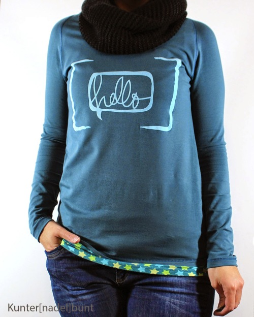 Leona_Langarm farbenmix Shirt Raglanshirt Damen