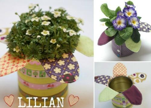 Blumenpräsent schnell gemacht DIY Stoffreste Geschenk farbenmix