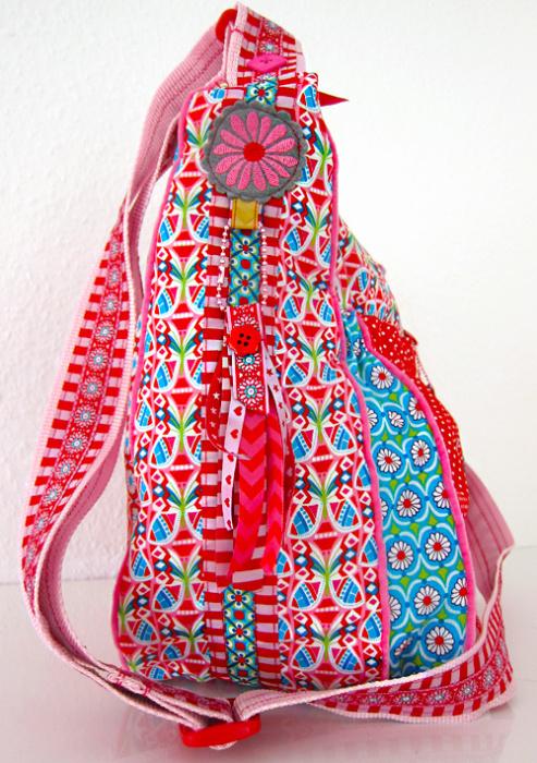 Tasche verzieren mit Webbändern ribbon sewing embroidery handmade bag