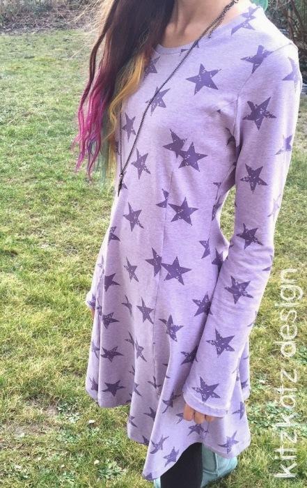 kiara Kleid für Teenies nähen farbenmix kitzkatz