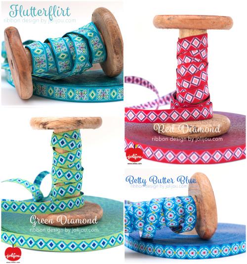 Collage Flutter alle Jolijou farbenmix Webbänder ribbons Borten