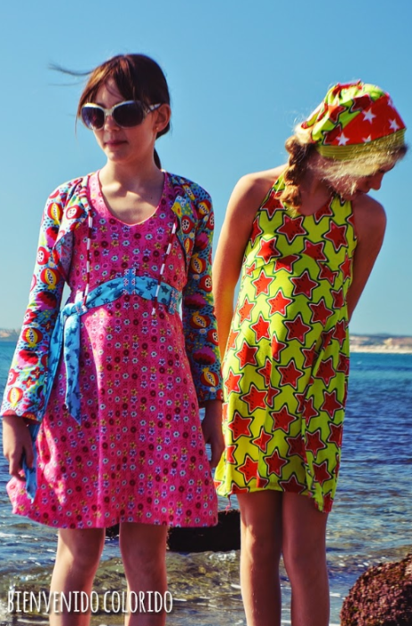 Sommerkleid Mädchen LaPlayita bienvenido colorido farbenmix nähen