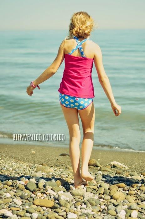 Beachwear Tankini Bademode selbstgenäht Schnittmuster farbenmix