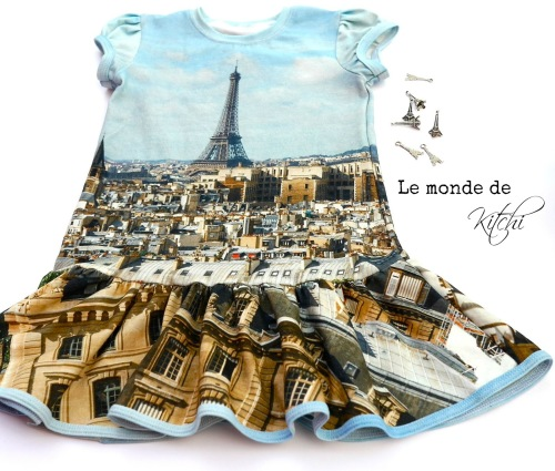 Pariskleid Kleid mit Parisstoff kleinFanö farbenmix