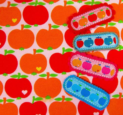 ByGraziela: Haarspangen mit Äpfelchen-Webband selbst gestalten für feines Haar