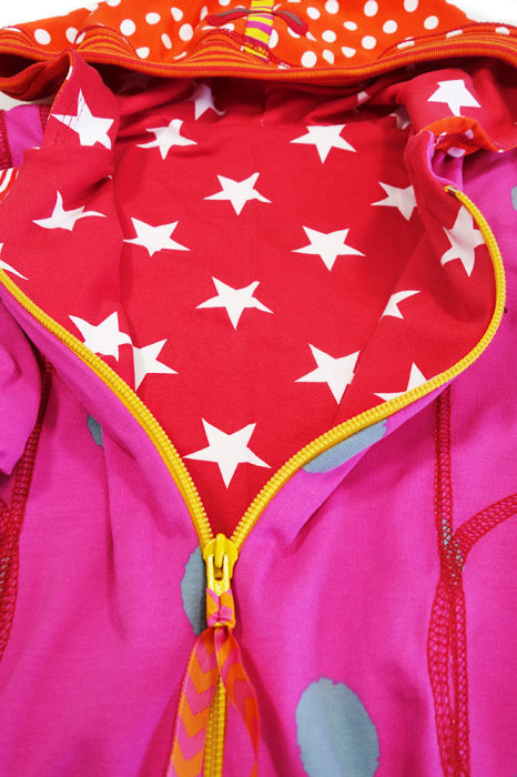Jersey doppeln für eine Jacke mit Reißverschluss, Nähen für Mädchen