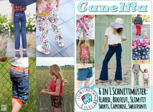 farbenmix_canelita_bienvenido colorido_Hose_pants_capri_shorts_Flared_Bootcut_Slim Fit_Collage