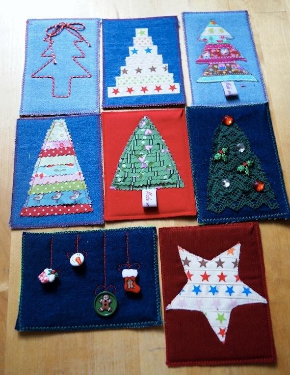 Ideen für Weihnachtskarten zum Nähen und Basteln mit Stoff ...
