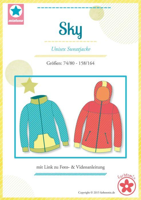 Farbenmix Papierschnittmuster Sky Unisex Jacke Kids in den Größen 74/80 bis 158/164 Schnittdesign: Mailuna