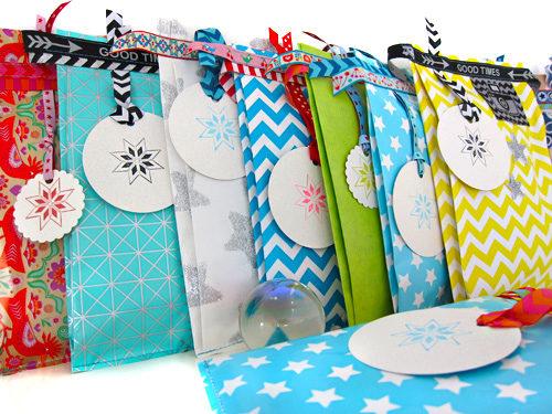 Überraschungstüten verpacken mit Farbenmix Webbänder