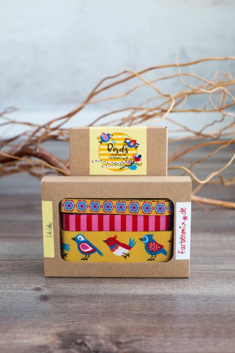 Borten Designer Kollektion Lila-Lotta - Birds - Sortenbänder Borten Webbänder - farbenmix gelb