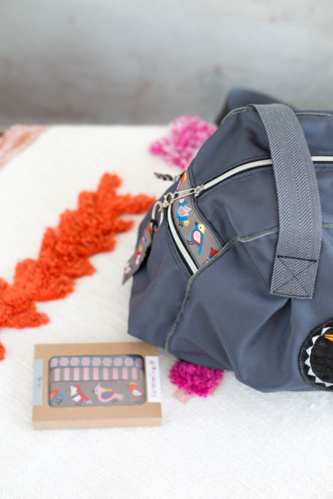 Kugeltasche Taschenspieler 2 - Borten Designer Kollektion - Schnittmuster Taschen - Box farbenmix Lila Lotta Birds grau