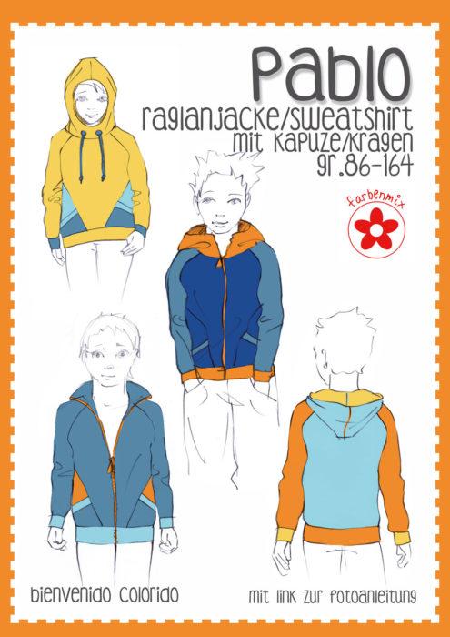Pablo eine Raglanjacke von 86 bis 164 Papierschnitt bienvenido colorido Sweatshirt farbenmix