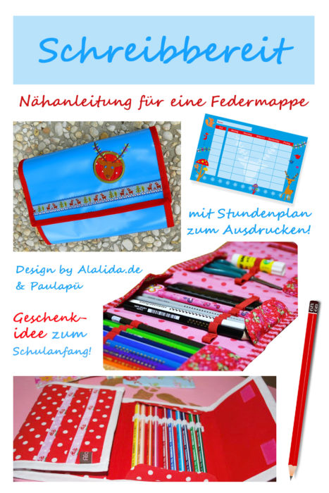 Inhalt Schultüte Nähanleitung für Federmappe - Schreibbereit von farbenmix . mit Stundenplan zum Ausdrucken