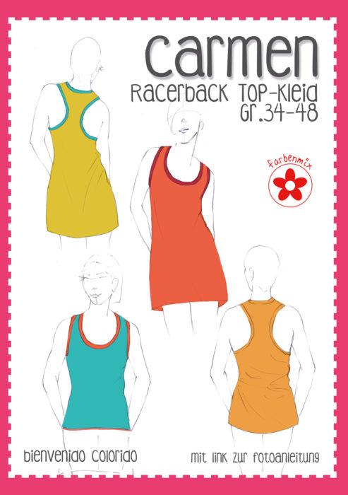 Carmen Racerback Schnittmuster Top Kleid von bienvenido colorido in den Größen 34-48
