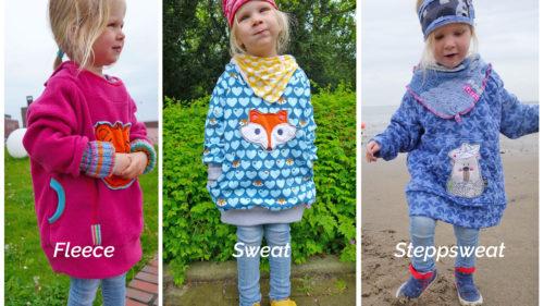 Oversized Hoodie Danai könnt ihr aus Fleece, Sweat oder auch Steppsweat nähen- jetzt auch als Ebook bei farbenmix